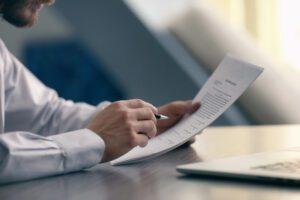 employee reading documents